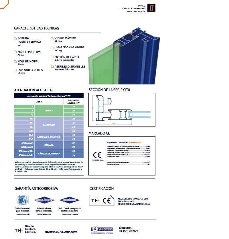 ventanas aluminio  corrediza CF31 brochure