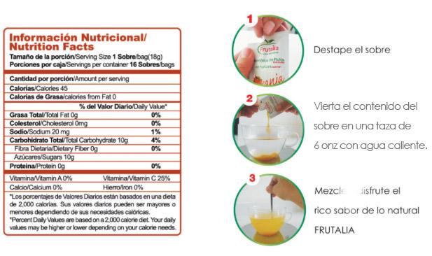 verbal tabla nutricional y preparación