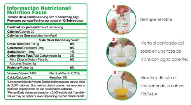 tradicional - tabla nutricional y preparación