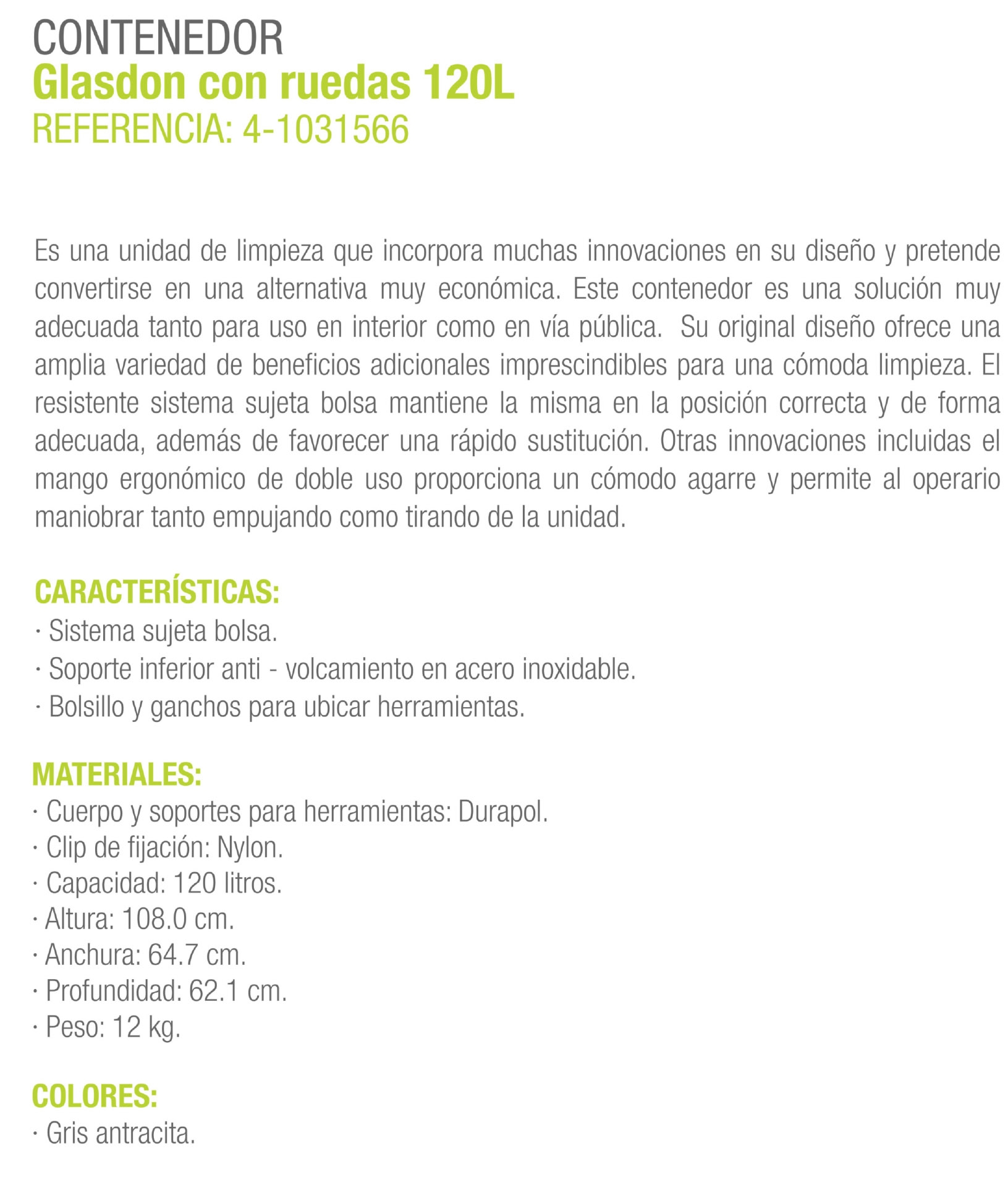 CARCATERISTICAS CARRO CONTENEDOR 200 LTS