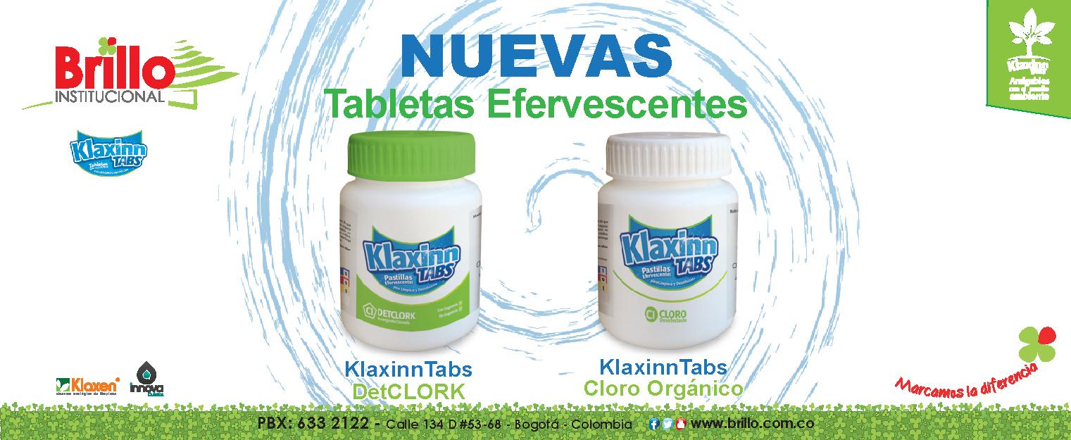 NUEVAS Klaxinn Tabs, tabletas efervescentes para limpieza y desinfección