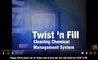 Ver el video del modo de uso del dosificador y los productos del sistema Twist´n Fill